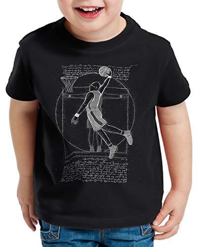 style3 Jugador de Baloncesto de Vitruvio Camiseta para Niños T-Shirt da Vinci Hombre Basketball, Color:Negro, Talla:116