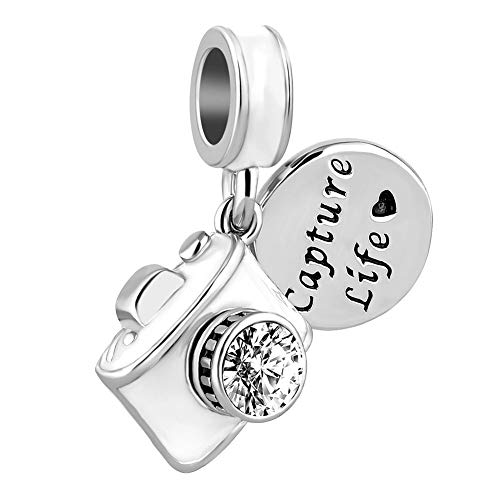 Lifequeen Jewellery Vintage White Camera Charms Love Photography Travel Capture Life Charm Bead for Bracelets