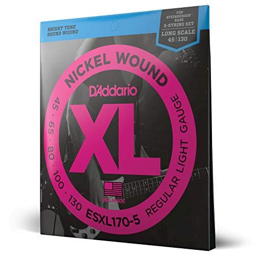 D'Addario ESXL170-5 - Juego de cuerdas para bajo de acero y níquel (extremo de bola), Light, 45-130 (5-String, Double Ball End)