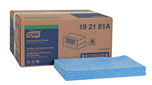 """Tork 192181A Foodservice Cloth, 1/4 Fold, 1-Ply, 13"""" Width x 21"""" Length, Blue/White (Case of 1 Box, 240 Cloths)"""