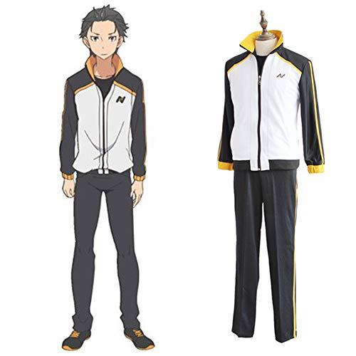 MDDCER Re: Das Leben In Einer Anderen Welt Starten Bei Null Cosplay Natsuki Subaru Uniformen Anime Kostüm-Halloween-Bühne Full Set Jacket + Pants S