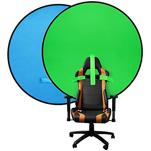Doppelseitiger Greenscreen & Bluescreen, Greenscreen Rollup for Chair,Chromakey Hintergründe, 2-in-1 Faltbarer & Reversibler Hintergr& für Fotografie, Live-Streaming usw (142cm)
