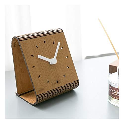 Clock ^Soporte para mesa americana simple para decoración de escritorio, mesa, dormitorio, péndulo silencioso, a rayas rosas para el hogar o al aire libre (color: E)