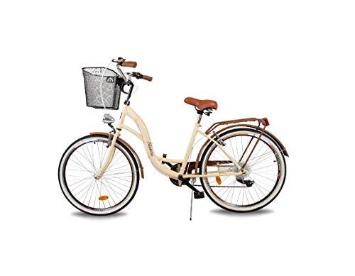 BDW Blanca Komfort - Bicicleta holandesa para mujer (6 marchas, 26 pulgadas), color marrón crema