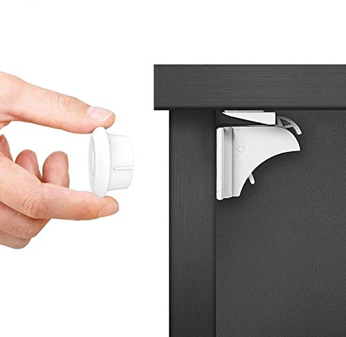 Dokon Cerraduras Magnéticas de Seguridad para Niños (20 cerraduras + 3 llaves) Bloqueo de Seguridad para Bebés, Cierres de seguridad Para Cajones Armarios, Sin Tornillos o Perforación