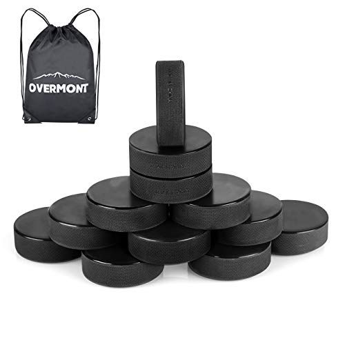 Overmont Ice Hockey Pucks, 12 Pack Practice Hockey Pucks, Ice Hockey Balls Practice Hockey Pucks Sports Fan Hockey Pucks Ice with Gym Drawstring Bag