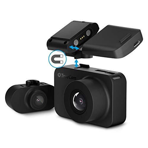 TrueCam M7 GPS Dual, Dual Dashcam, Autokamera mit Full HD Frontkamera, HD Heckkamera, Magnethalterung GPS + Radarwarner, WDR, DE Menü, Parkmodus, automatisches Einschalten