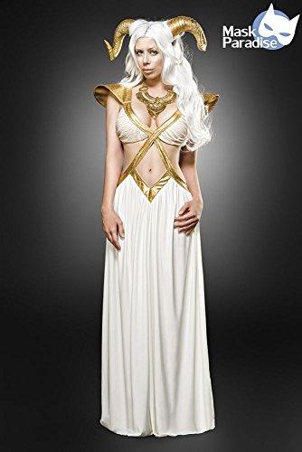Disfraz de hada sexy para mujer, 3 piezas, disfraz de magia, color blanco y dorado, tronos con cuernos y cabra