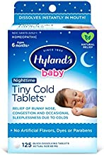 Baby Cold Medicine Nighttime Tablets, Infant Cold and Cough Medicine, Decongestant, Hyland's Tiny Cold, Natural Relief of Common Cold Symptoms, 125 Quick-Dissolving Tablets