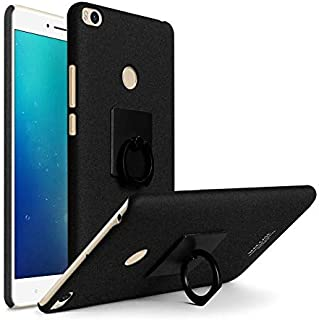 IMAK Xiaomi Mi Max 2 - Cowboy Matte Frosted Hard Phone Case Cover With Ring Stand Holder,Vehicle Hook And Screen Protector -Black