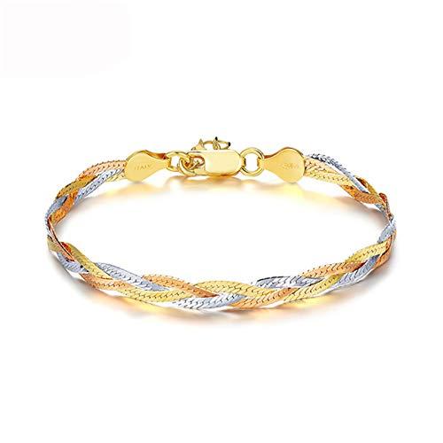HHW Pulseras de plata de ley 925 italiana de tres colores chapados en oro con hilo de tejer, joyería de moda para mujeres regalos de cumpleaños