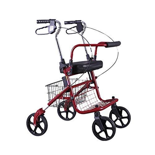 LPsweet Leichtklapp Four Wheel Rollator Walker, Mit Einstellbarer Höhe Korb- Und Tablett-Gehen Mobilitätshilfe, Leicht Zu Manövrieren