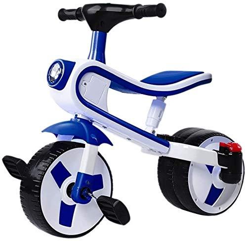 Los niños del triciclo bicicleta bicicletas 3-4-5-6 bebé de los años Varón y femenino de la bicicleta de los niños del tobillo del bebé del coche de Balance de bicicletas (Color: Azul, Tamaño: