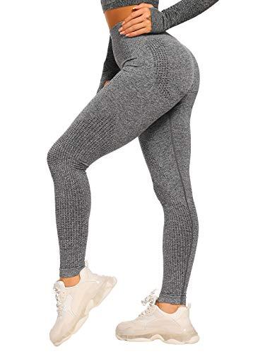 FITTOO Damen Power Flex Yoga Hosen Training Laufende Leggings Active Leggings Slimming Seamless Pants Grau04 M