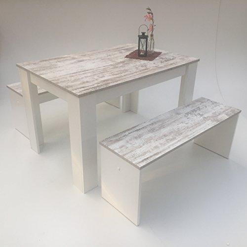 Möbel SD Esstisch Gruppe Canyon White Pine- weiß