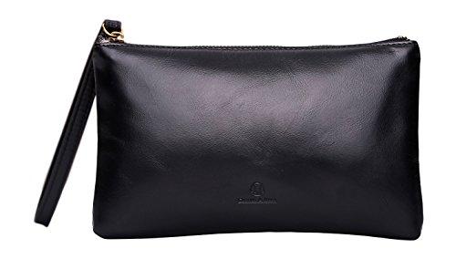 Cronus & Rhea | Esclusiva borsa di lusso in pelle (Arion) | Clutch - Borsa a mano - Borsa da sera - Cassa - Custodia - Smartphone | Vera pelle | Con elegante scatola regalo | Signore (Nero)