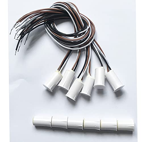RC-33 NC & NO Embedded Wired Magnetic Door Window Contact Sensor Switch Contact Sensor Alarm Magnetic Reed Switch White - (6 Sets)