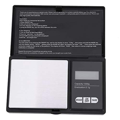 Fafeicy Báscula Digital Para Joyería, Balanza de Bolsillo Con Pantalla LED de Precisión de 0.1g/0.01g Para Pesaje de Oro, Plata, Diamante, Piedras Preciosas, Grano(1000g / 0.1g)