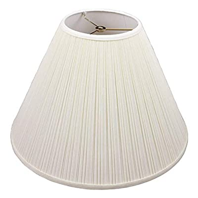 """FenchelShades.com Lampshade 7"""" Top Diameter x 18"""" Bottom Diameter x 13"""" Slant Height with Washer (Spider) Attachment for Lamps with a Harp (Pleated Cream)"""