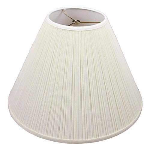 FenchelShades.com Lampshade 7' Top Diameter x 18' Bottom Diameter x 13' Slant Height with Washer (Spider) Attachment for Lamps with a Harp (Pleated Cream)
