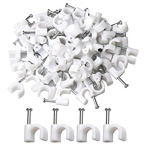 200 Piezas Clip para Cable Redondo, Abrazadera para Cable para Cables con Clavos de Acero Incorporados Clips de pared de Cable Eléctrico para Oficina Hogar, 10mm