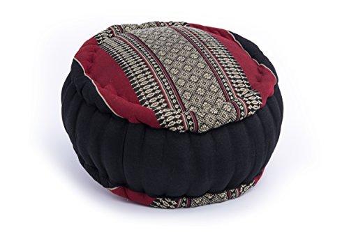 Handelsturm Zafu Meditationskissen mit Füllung aus Kapok 34 x 15 buntes Kissen für Sitzmeditation Lotussitz oder Zen Meditation (schwarz-rot)