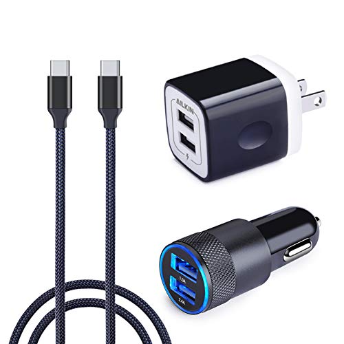 Galaxy S8 Fast Charger, Ailkin Dual Port Car Charger+USB Wall Charger+2 Pack Braided Type C Cables Quick Charge Plug for LG G8/G7/G6/G5, Galaxy S10/S8/Note 8/Plus, ZTE Axon 7, Google Pixel,Nexus 6p 5X