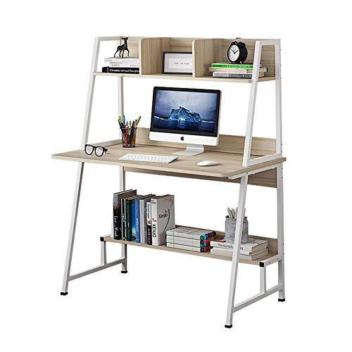 HKJZ Escritorio De ComputadoraMesa De Ordenador Mesa De Oficina con Estantes De Almacenamiento Estantería Que Ahorra EspacioEstación De Trabajo con Estructura De Acero (Size:Small; Color:White)