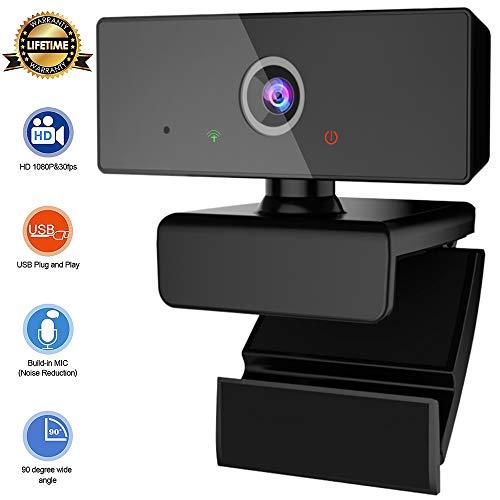 New rui cheng Webcam, Webcam mit Mikrofon HD 1080P Kamera Computer Laptop mit Autofokus Video Streaming USB Plug & Play Geräuschreduzierung-Mikrofone für Skype Videoanrufe, Remote Konferenzen, Gaming