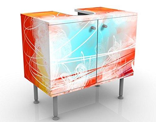 Mueble de lavabo de diseño rojo grunge con mariposas 60x55x35cm, pequeño, 60cm de ancho, ajustable, mesa de lavabo, mueble de lavabo, lavabo, mueble bajo, bañera, baño, mueble de baño