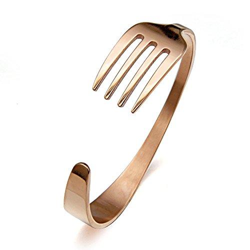 AOCHEE - Pulsera de tenedor de acero inoxidable para hombres rosa