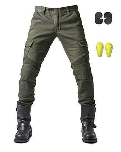 GELing Sportliche Motorrad Hose Mit Protektoren Motorradhose mit Oberschenkeltaschen ,Grün,L