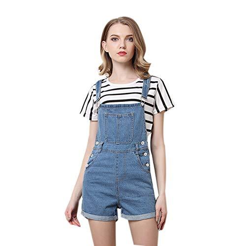Sijux Damen Rolled Cuffs Jeans mit Taschen Lässige Jeans Stretch Latzhose Latzhose für Teen Girl,Blue,XXXL