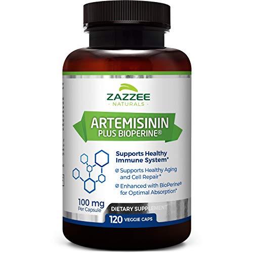 Zazzee Artemisinin, 100 mg per Capsule, 120 Vegan Capsules, 4 Month Supply, Plus 5 mg BioPerine for Enhanced Absorption, Sweet Wormwood Extract, Vegan and Non-GMO