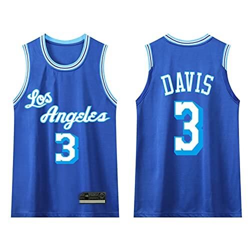 GAOXI Uniformes de Baloncesto para jóvenes Estudiantes de Secundaria, Lakers City Edition Davis # 3 Hombres y Mujeres Camisa Transpirable Blue-XXXXL
