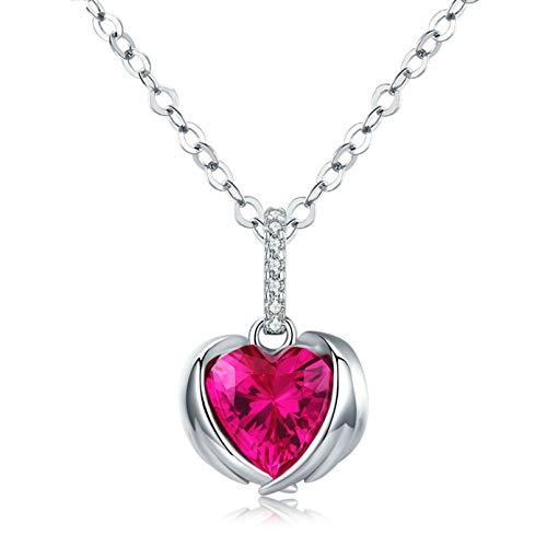 QSSQ Colgante De ala De Forma De Corazón Rojo para Las Mujeres AAA Cadena De Circonia Cúbica 925 Collares De Plata Esterlina