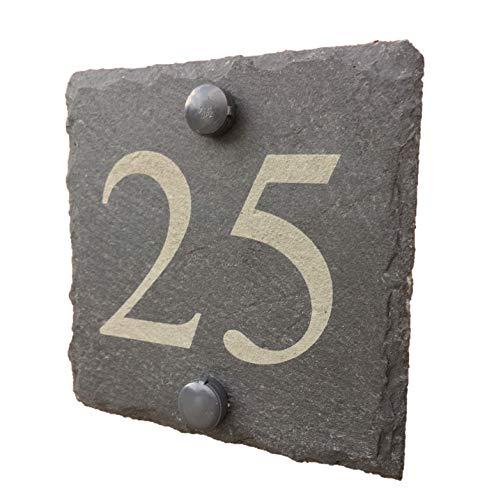 Plaque de numéro de maison en ardoise naturelle - personnalisable