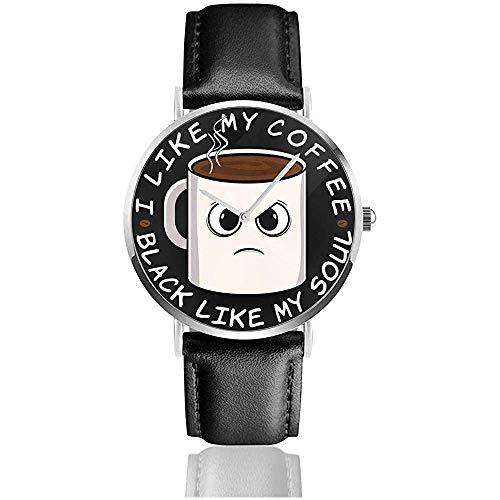 Unisex Ich mag Meinen Kaffee Schwarz wie Meine Seele Uhren Quarz Lederuhr mit schwarzem Lederband