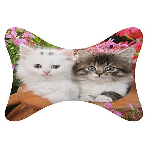 perfecone Lindo gato gris y gato blanco 2 juegos de almohada de hueso de automóvil