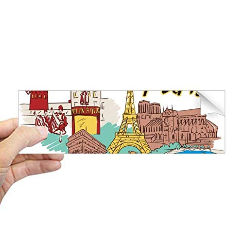 DIYthinker Frankrijk Parijs Eiffeltoren Aquarel Rechthoek Bumper Sticker Notebook Window Decal