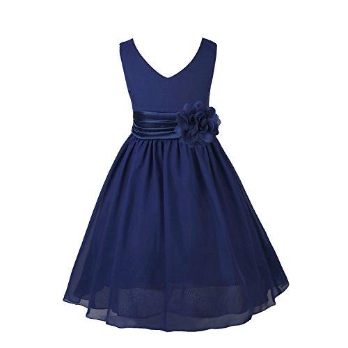 IEFIEL Vestido Fiesta Boda Niña Vestido Largo de Princesa con Flores Vestido Elegante de Dama de Honor Vestido Largo de Gasa para Cumpleaños Ceremonias Azul Oscuro 12 años