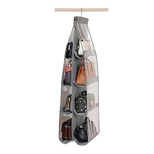 Zebricolo Speicher Handtasche Organiser Aufbewahrungssystem,8 Fächer zur besseren Organisation, geeignet für Taschen, klar, zum Aufhängen im Kleiderschrank, Platz sparend, für Wohnzimmer, Schlafzimmer