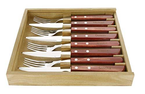 Vaneira Steakbesteck Premium, Pizzabesteck Gaucho Besteck Set achtteilig von Tramontina 4 Steakmesser 4 Steakgabeln mit persönlicher Gravur Namen
