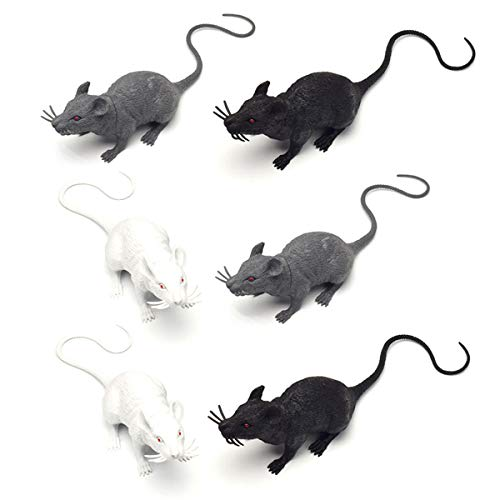 Halloluck 6 Piece Halloween Fake Rat Simulation PVC Mouse Novelty Prop Halloween Decorations