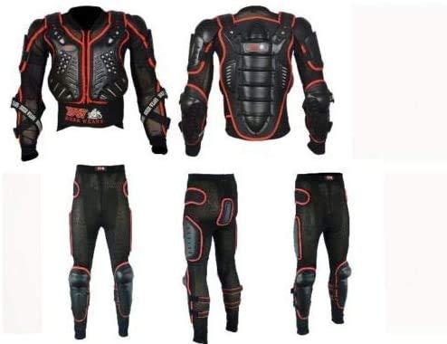 Heren Motorfiets Volledige rugleuning Body Armour Bescherming Motocross Beschermende Guard Jas Draag & Beschermende Biker Broek Pak Waist-30