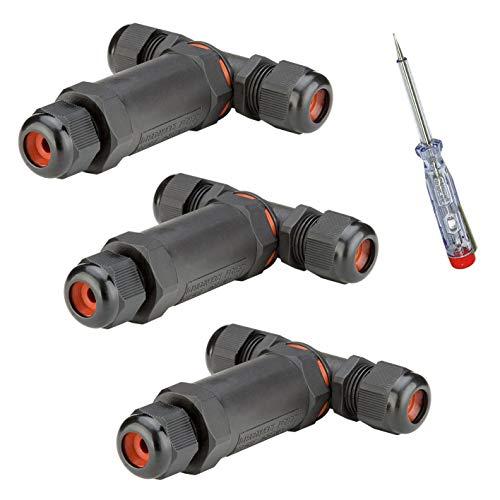 3x Outdoor Kabelverbinder | T-Stück | IP68 | 3-polig | Abzweigdose Verbindungsbox Verbindungsmuffe | Wasserdicht | für 4-11 mm Kabeldurchmesser | 3 Stück