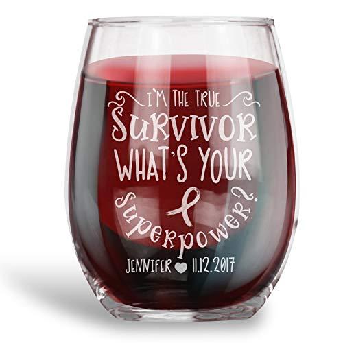 Borstkanker Survivor Gift Gepersonaliseerde Stemless Wijnglas Ik ben een Survivor True Survivor Wat is uw Superpower
