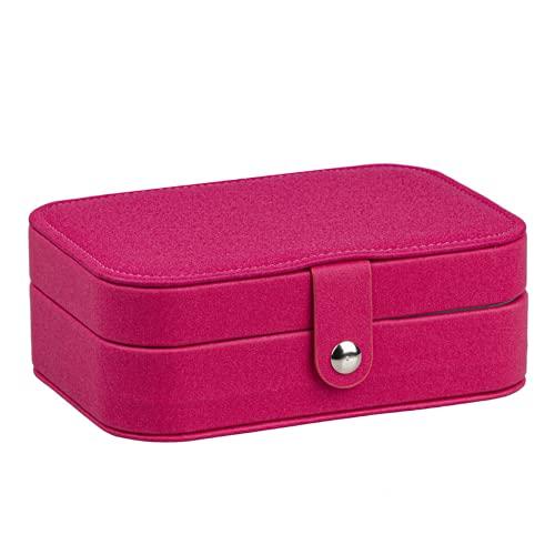 Collar, aretes, joyero, aretes impermeables de cuero de pu, aretes multifunción, pulseras, caja de almacenamiento, bolsa portátil con hebilla magnética (rojo)
