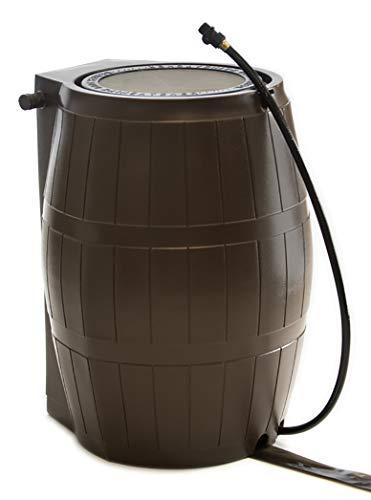 FCMP Outdoor Rain Catcher RC4000 Rain Barrel, 50 Gallon, Colour Brown