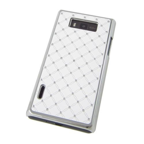 Unbekannt Hardcase/Hülle LG P700 Optimus L7 Bling Strass Weiß/Chrom Schutzhülle Case Back Cover Schale